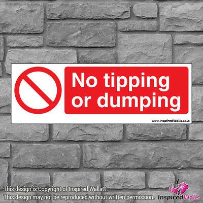 2x No Tipping Dumping - Health & Safety Warning Prohibition Sign Vinyl Sticker
