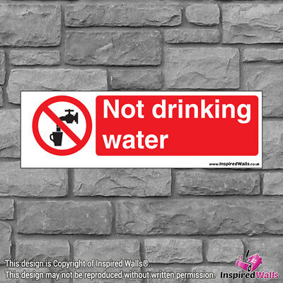 2x Not Drinking Water V2 - New Health & Safety Warning Prohibition Sign Sticker