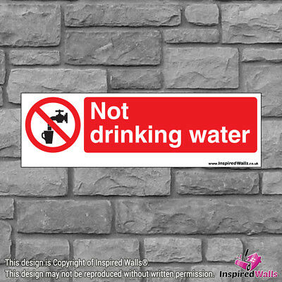 2x Not Drinking Water V3 - New Health & Safety Warning Prohibition Sign Sticker