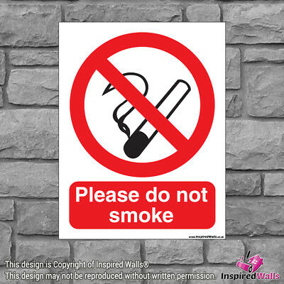 2x Please Do Not Smoke - Health & Safety Warning Prohibition Sign Vinyl Sticker