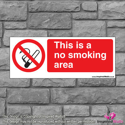 2x This Is A No Smoke - Health & Safety Warning Prohibition Sign Vinyl Sticker