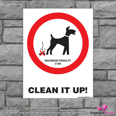 2x Clean It Up! - Health & Safety Warning Prohibition Sign Sticker Waterproof