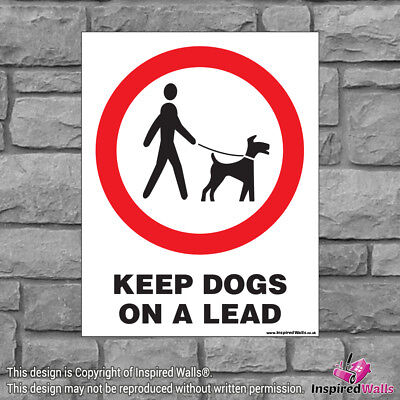 2x Keep Dogs On A Lead - Health & Safety Warning Prohibition Sign Vinyl Sticker