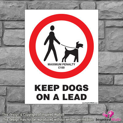 2x Keep Dogs On A Lead V2 - New Health & Safety Warning Prohibition Sign Sticker