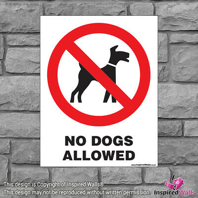 2x No Dogs Allowed - Health & Safety Warning Prohibition Sign Sticker Waterproof