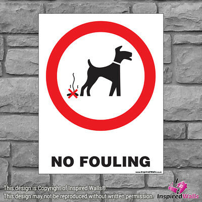 2x No Fouling V2 - Health & Safety Warning Prohibition Sign Sticker Waterproof