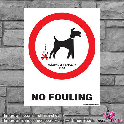 2x No Fouling V3 - Health & Safety Warning Prohibition Sign Sticker Waterproof