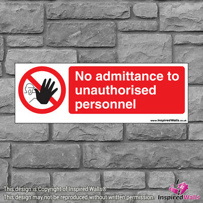2x No Admittance To - New Health & Safety Warning Prohibition Sign Vinyl Sticker