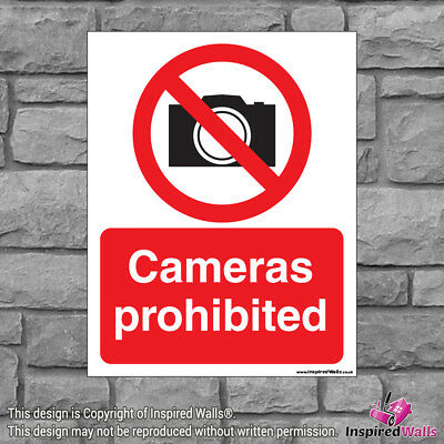 2x Cameras Prohibited - Health & Safety Warning Prohibition Sign Vinyl Sticker