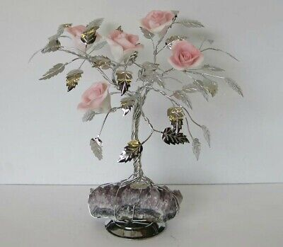 Fine Italian Silver Plate & Painted Porcelain Pale Pink Rose Tree & Rock 501 Rs