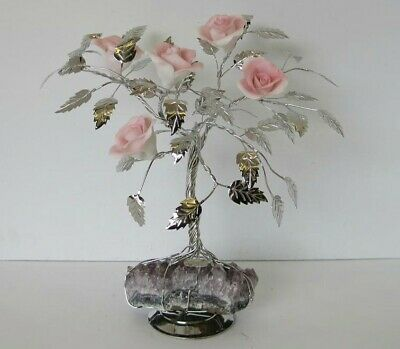 Fine Italian Silver Plated & Painted Porcelain Pale Pink Rose Tree & Rock 501 Rs