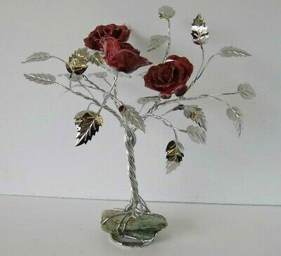 Fine Italian Silver Plated & Painted Porcelain Vivid Burgundy Three Rose Tree