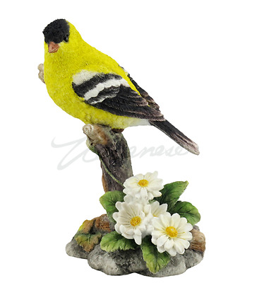 Goldfinch Bird Figurine On Branch  Statue Sculpture  - GIFT BOXED