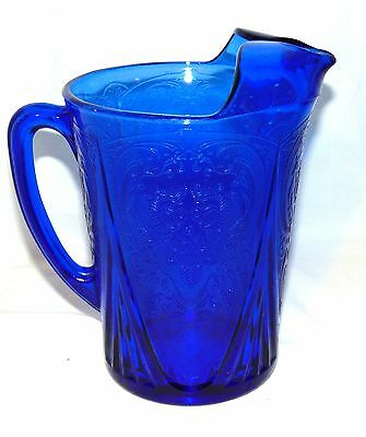 "Hazel Atlas *ROYAL LACE BLUE* 6 3/4"" 48 oz STRAIGHT SIDED PITCHER w/ICE LIP"