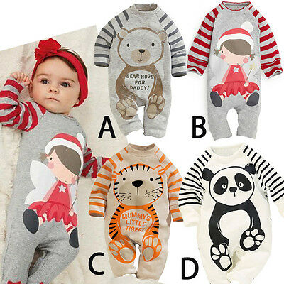 Baby Newborn Long Sleeve Cartoon Animal Stripes Babygrow Romper Jumpsuit Outfit