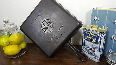 #8 Griswold 2108 Square Fry Cast Iron Skillet Erie Vtg USA Cleaned Seasoned