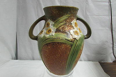 "Vintage 1930s Roseville Art Pottery Jonquil Double Handle 8.25"" Vase LOOK!!"