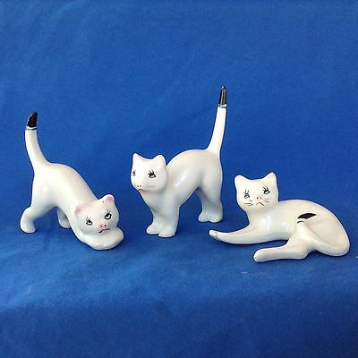VINTAGE TRIO OF CATS White with Black tipped tails