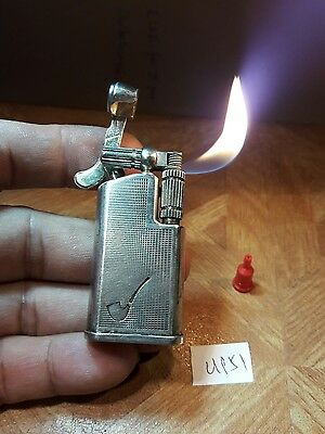 Rollagas lighter UP51 ~ Maruman GL-67 pipe barley body silver plated,  serviced