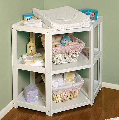Baby Changing Table Corner Nursery Furniture Dresser White Wood Diaper Station