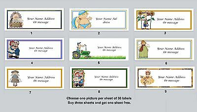 30 Personalized Return Address Labels Primitive Country Buy 3 get 1 free (pc10)
