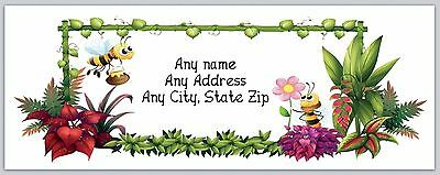 30 Personalized Return Address Labels Bees & Flowers Buy 3 Get 1 free(c 711)