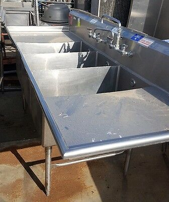 8.5ft 3 Compartment SINK for a Restaurant Commercial 102in long