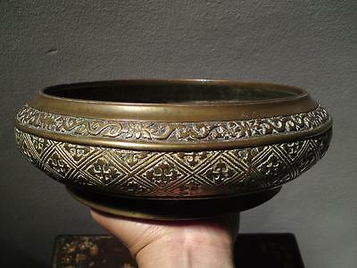 Antique Chinese Tibetan lotus scroll Double Dorje Vishwa Vajra Bronze Censer