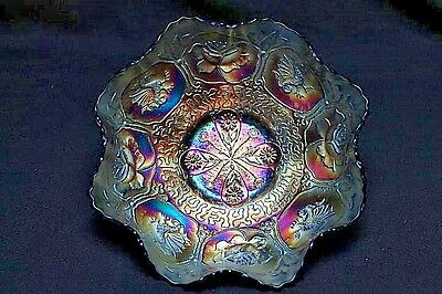 """Fenton Dragon And Lotus Carnival Glass Bowl Iridescent Electric Blue 9"""" Bowl"""