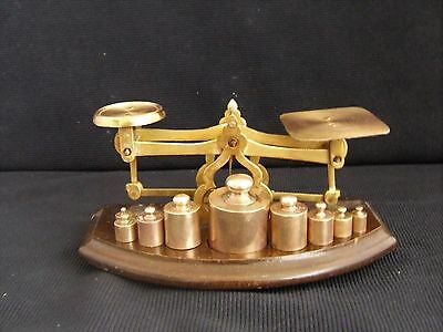 Antique Victorian English Brass Postal Scale on Wood Base with 9 weights