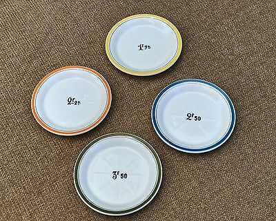 French Porcelain Absinthe-type Bar-Tab Saucers - Set of 4