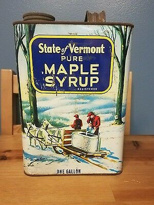 Vintage State of Vermont One Gallon Maple Syrup Tin Can - Neat Graphics!