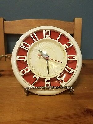 Vintage Working Mid Century Modern Red Telechron Wall Clock - Cool Numbers!