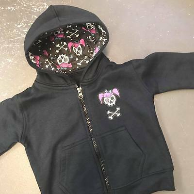 Rockabilly Girl Skull Black Baby Hoodie, Punk, Rock, Goth, Alternative