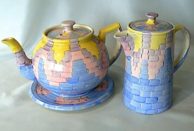 Arthur Wood Art Deco tea pot with stand + hot water jug hand-painted - rare find