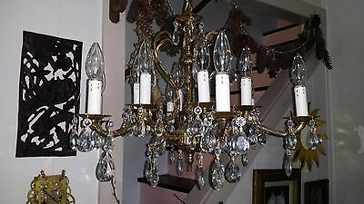 Lrg Vintage Ornate 12 Lights Brass Bronze Crystal French Empire Spain Chandelier