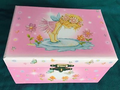 Ballerina Twirling Music Box Pink Angel Fairy Butterflies Flowers Water Puddle