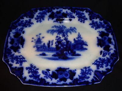 Antique Flow Blue Ironstone Scinde Pattern Platter 1839-1846, J&G Alcock