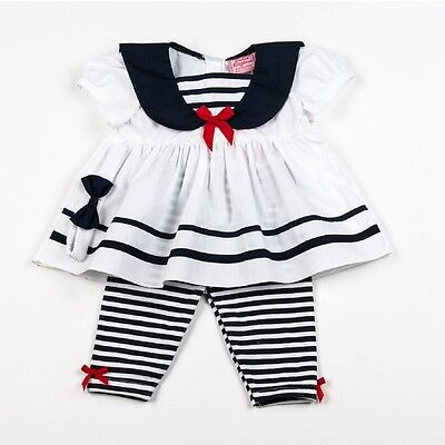 Baby Girl Summer Sailor Dress Set Headband Leggings Outfit White 0-3-6-9 M SALE