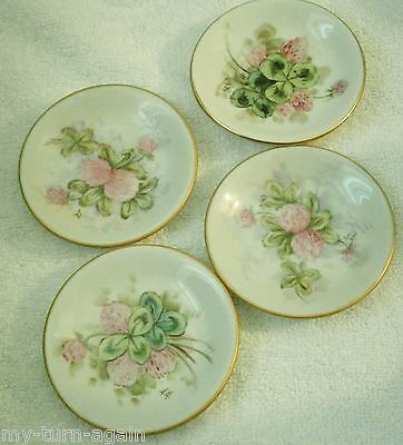 Vintage Victorian Hand Painted Pink Flowers Three leaf Clover 4 Butter Pats