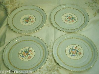 Vintage Steubenville Pottery Monticello Herman Kupper Blue Luncheon 4 Plates