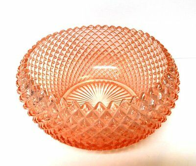 "Anchor Hocking ""Miss America"" Diamomd Pattern PINK depression Glass 8"" BOWL"