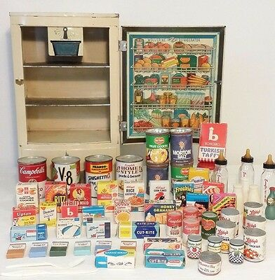60's VTG WOLVERINE POLAR REFRIGERATOR w Play toy Grocery BOXES & Canned Foods