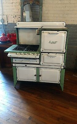 Porcelain Green And White Estate Gas Stove Kitchen Design Country Farm Range