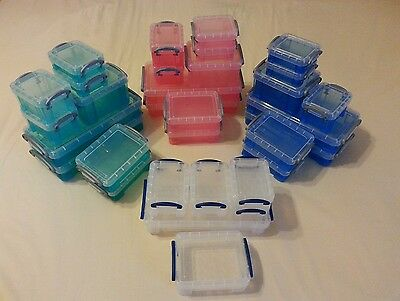 Huge Lot of 32, Really Useful Plastic Storage Boxes, Various Sizes & Colors