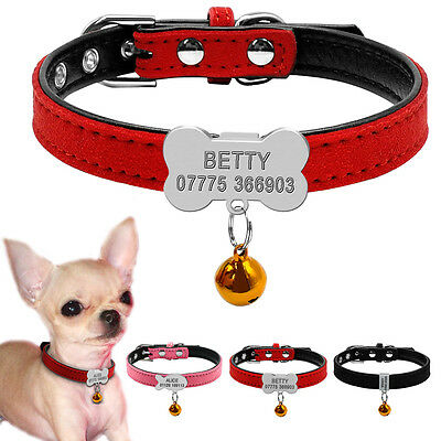 Personalized Small Dog Collar Soft Padded Pet Puppy Cat Bone Fish ID Tags & Bell