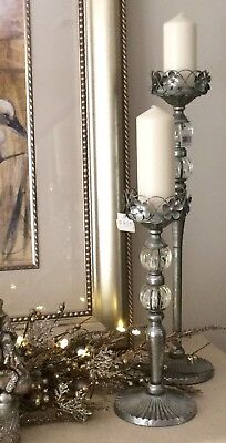Brand New Pair Of Silver Champagne Colour Candle Sticks