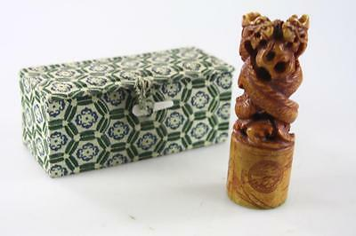CHINESE VINTAGE HAND CARVED SOAPSTONE TWIN DRAGON STAMP with box