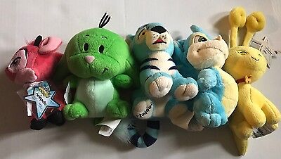 Neopets Lot Red Ixi, Green Kacheek, Blue Kougra, Blue Scorchio, Yellow Aisha