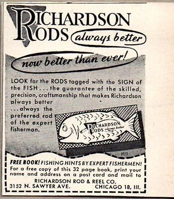 1947 Print Ad Richardson Fishing Rods Made in Chicago,IL